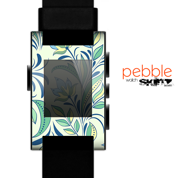 The Sutble Green Floral Vector Pattern Skin for the Pebble SmartWatch