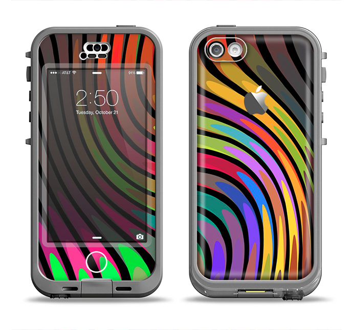 The Swirled Neon Abstract Lines Apple iPhone 5c LifeProof Nuud Case Skin Set
