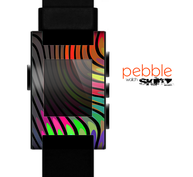 The Swirly Color Change Lines Skin for the Pebble SmartWatch