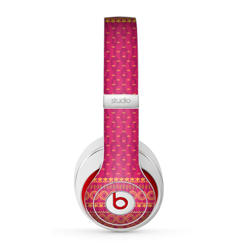 The Tall Pink & Orange Floral Vector Pattern Skin for the Beats by Dre Studio (2013+ Version) Headphones