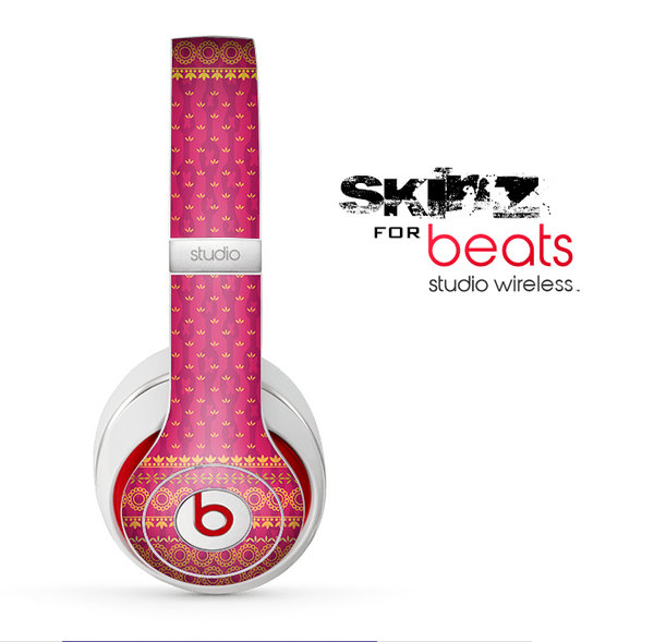 The Tall Pink & Orange Vintage Pattern Skin for the Beats by Dre Studio Wireless Headphones