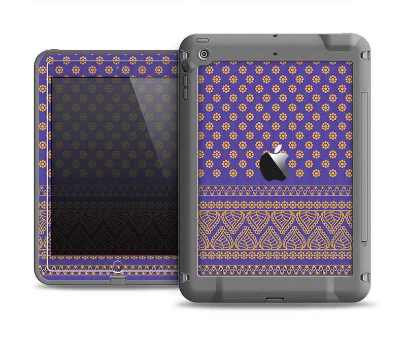 The Tall Purple & Orange Vintage Pattern Apple iPad Air LifeProof Fre Case Skin Set