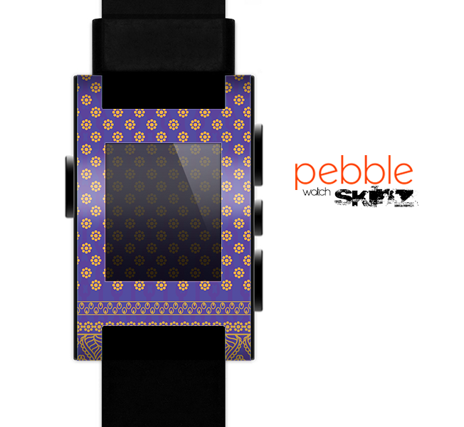 The Tall Purple & Orange Vintage Pattern Skin for the Pebble SmartWatch