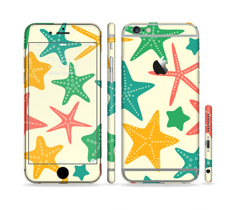 The Tan And Colorful Vector StarFish Sectioned Skin Series for the Apple iPhone 6