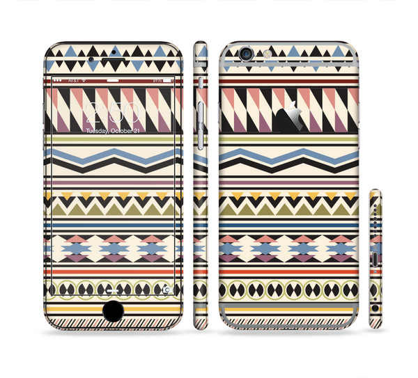 The Tan & Color Aztec Pattern V32 Sectioned Skin Series for the Apple iPhone 6 Plus