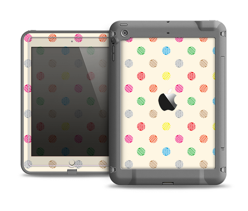 The Tan & Colored Laced Polka dots Apple iPad Air LifeProof Fre Case Skin Set