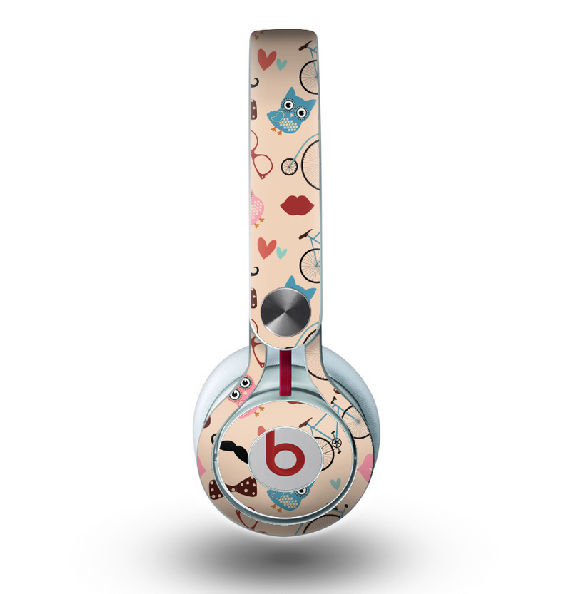 The Tan Colorful Hipster Icons Skin for the Beats by Dre Mixr Headphones