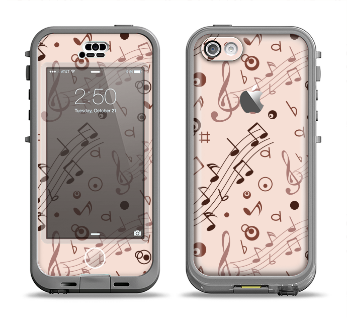 The Tan Music Note Pattern Apple iPhone 5c LifeProof Nuud Case Skin Set