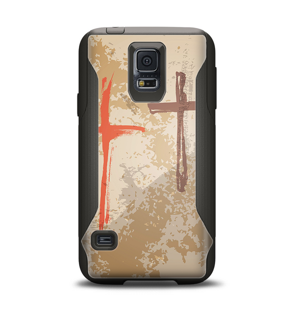 The Tan Splattered Color-Crosses Samsung Galaxy S5 Otterbox Commuter Case Skin Set