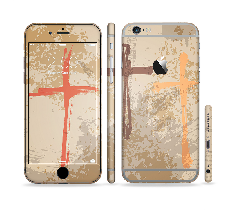 The Tan Splattered Color-Crosses Sectioned Skin Series for the Apple iPhone 6s