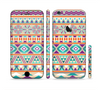 The Tan & Teal Aztec Pattern V4 Sectioned Skin Series for the Apple iPhone 6