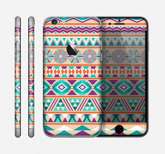 The Tan & Teal Aztec Pattern V4 Skin for the Apple iPhone 6