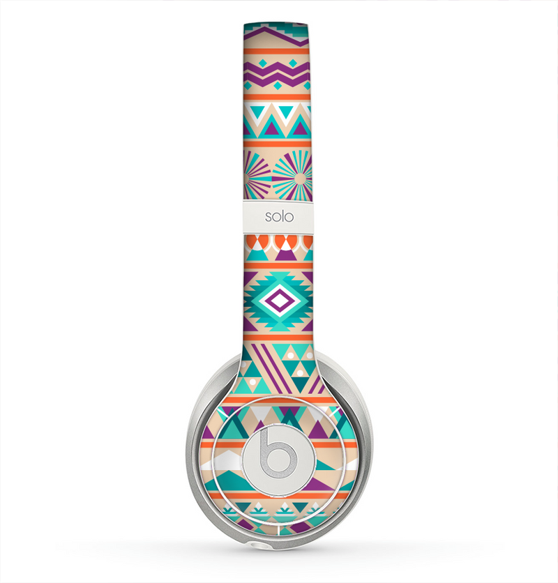 The Tan & Teal Aztec Pattern V4 Skin for the Beats by Dre Solo 2 Headphones