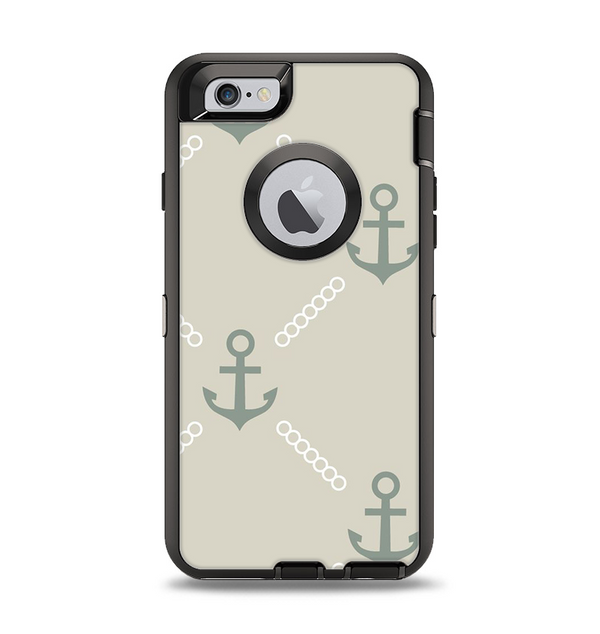 The Tan Vintage Solid Color Anchor Linked Apple iPhone 6 Otterbox Defender Case Skin Set