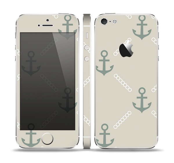 The Tan Vintage Solid Color Anchor Linked Skin Set for the Apple iPhone 5