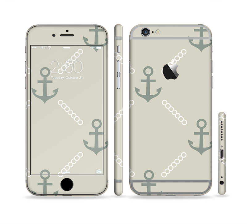 The Tan Vintage Solid Color Anchor Linked Sectioned Skin Series for the Apple iPhone 6