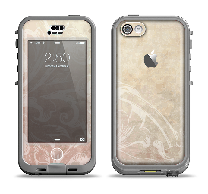 The Tan Vintage Subtle Laced Texture Apple iPhone 5c LifeProof Nuud Case Skin Set
