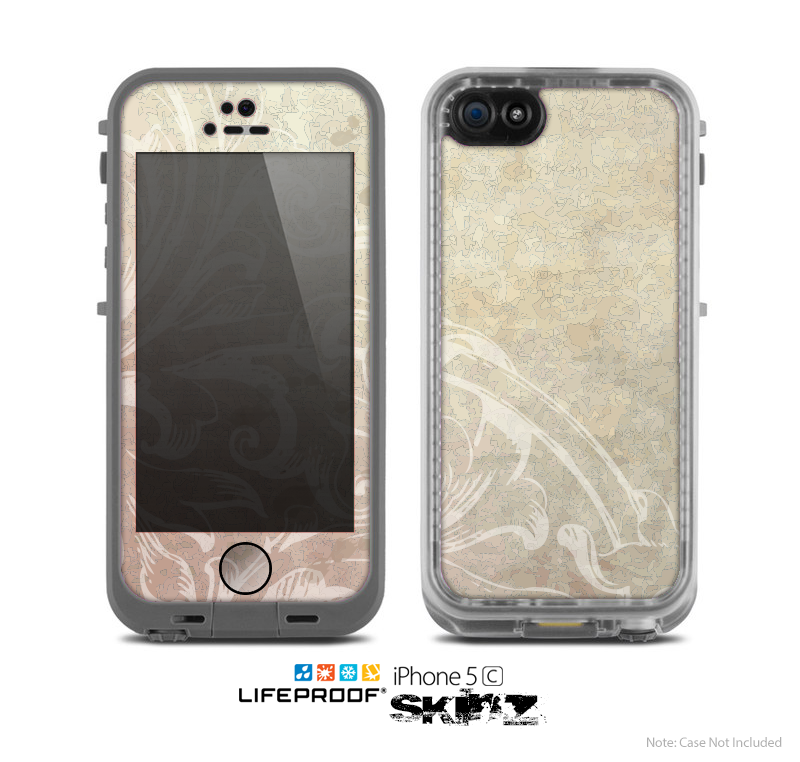 The Tan Vintage Subtle Laced Texture Skin for the Apple iPhone 5c LifeProof Case