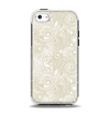 The Tan & White Vintage Floral Pattern Apple iPhone 5c Otterbox Symmetry Case Skin Set