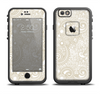 The Tan & White Vintage Floral Pattern Apple iPhone 6 LifeProof Fre Case Skin Set