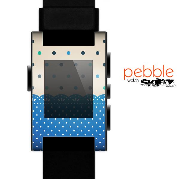 The Tan & Blue Polka Dotted Pattern Skin for the Pebble SmartWatch