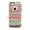 The Tan and Colored Chevron Pattern V55 Skin for the iPhone 5c OtterBox Commuter Case