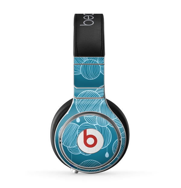 The Teal Abstract Raining Yarn Clouds Skin for the Beats by Dre Pro Headphones