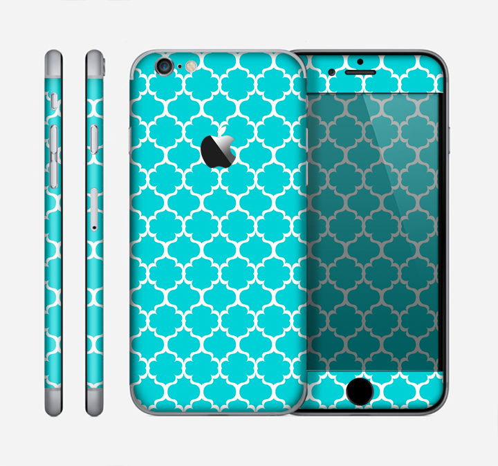The Teal And White Seamless Morocan Pattern Skin for the Apple iPhone 6