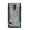 The Teal Aster Flower Lined Samsung Galaxy S5 Otterbox Commuter Case Skin Set