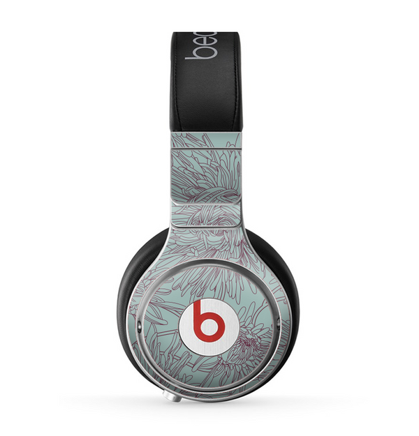 The Teal Aster Flower Lined Skin for the Beats by Dre Pro Headphones