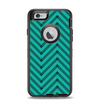 The Teal & Black Sketch Chevron Apple iPhone 6 Otterbox Defender Case Skin Set