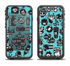 The Teal & Black Toon Robots Apple iPhone 6 LifeProof Fre Case Skin Set