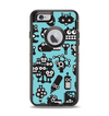 The Teal & Black Toon Robots Apple iPhone 6 Otterbox Defender Case Skin Set