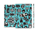The Teal & Black Toon Robots Full Body Skin Set for the Apple iPad Mini 3