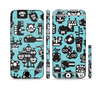 The Teal & Black Toon Robots Sectioned Skin Series for the Apple iPhone 6 Plus
