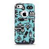 The Teal & Black Toon Robots Skin for the iPhone 5c OtterBox Commuter Case