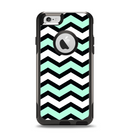 The Teal & Black Wide Chevron Pattern Apple iPhone 6 Otterbox Commuter Case Skin Set