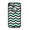 The Teal & Black Wide Chevron Pattern Apple iPhone 6 Otterbox Defender Case Skin Set