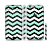 The Teal & Black Wide Chevron Pattern Sectioned Skin Series for the Apple iPhone 6s Plus