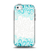 The Teal Blue & White Swirl Pattern Apple iPhone 5c Otterbox Symmetry Case Skin Set