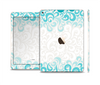 The Teal Blue & White Swirl Pattern Skin Set for the Apple iPad Pro