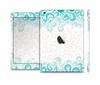 The Teal Blue & White Swirl Pattern Skin Set for the Apple iPad Mini 4