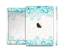 The Teal Blue & White Swirl Pattern Full Body Skin Set for the Apple iPad Mini 3