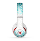 The Teal Blue & White Swirl Pattern Skin for the Beats by Dre Studio (2013+ Version) Headphones