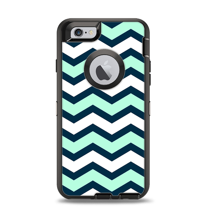 best service 2a468 0e391 The Teal & Blue Wide Chevron Pattern Apple iPhone 6 Otterbox Defender Case  Skin Set