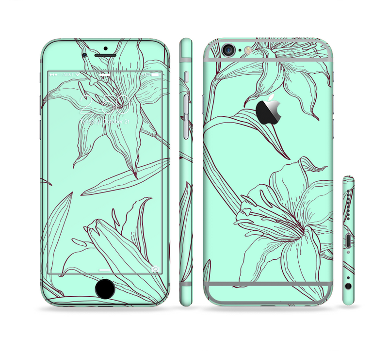 The Teal & Brown Thin Flower Pattern Sectioned Skin Series for the Apple iPhone 6s
