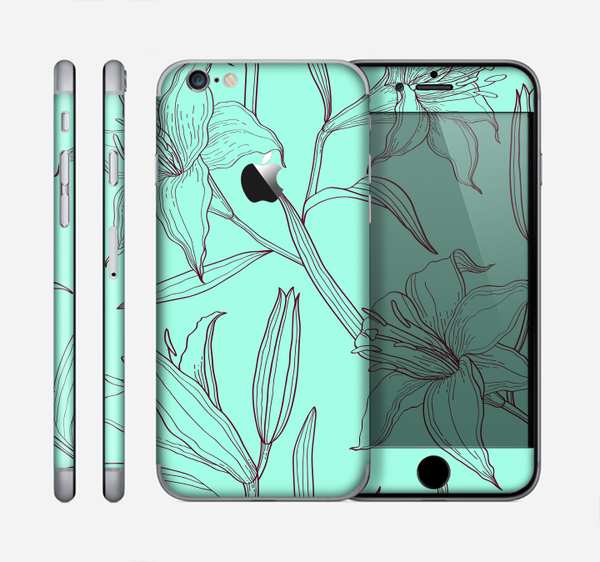 The Teal & Brown Thin Flower Pattern Skin for the Apple iPhone 6