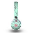 The Teal & Brown Thin Flower Pattern Skin for the Beats by Dre Mixr Headphones