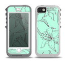 The Teal & Brown Thin Flower Pattern Skin for the iPhone 5-5s OtterBox Preserver WaterProof Case