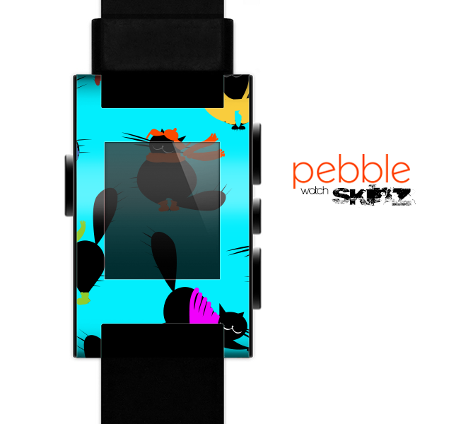 The Teal Cute Fashion Cats Skin for the Pebble SmartWatch